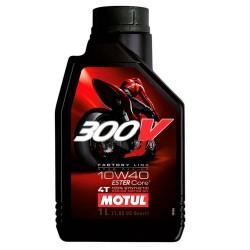 Motul 300V 10W 40 1l, syntetický olej pro motocykly.